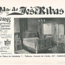 Coleccionismo: LAMINA 010: VDA. DE JOSE RIBAS. MUEBLES. Lote 183285657