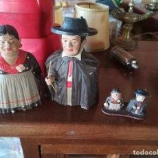 Coleccionismo: PAREJA FIGURAS TERRACOTA Y SU CORRESPONDIENTES MINIATURAS. Lote 183808493