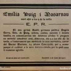 Coleccionismo: TARJETA DE FALLECIMIENTO DE EMILIA PUIG I MASARNAU. IGUALADA, 9 JUNY 1937. Lote 183816033