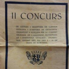 Coleccionismo: II CONCURS DE LECTURA I ESCRIPTURA DE LA LLENGUA CATALANA I D'HISTÒRIA DE CATALUNYA. JULIO, 1932. Lote 183816435