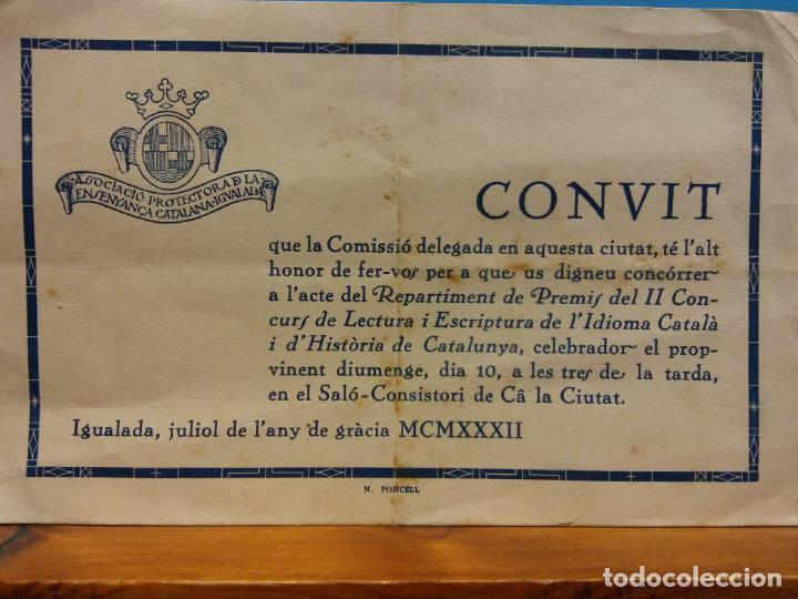 INVITACIÓN PREMIOS II CONCURSO DE LECTURA Y ESCRITURA DEL IDIOMA CATALÁN. JULIO, 1932 (Coleccionismo - Laminas, Programas y Otros Documentos)