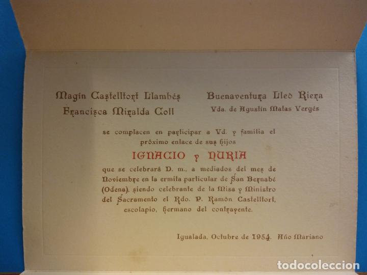 TARJETA DE BODA. IGNACIO CASTELLTORT Y NURIA MATAS. IGUALADA, OCTUBRE DE 1954 (Coleccionismo - Laminas, Programas y Otros Documentos)