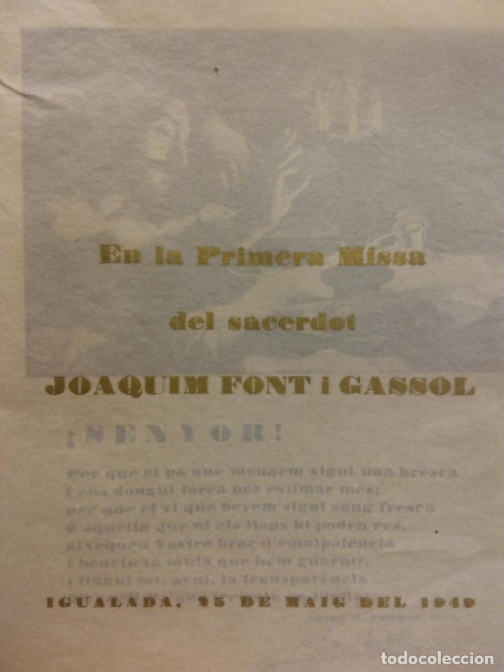 TARJETA PRIMERA MISA DEL SACERDOT JOAQUIM FONT I GASSOL. IGUALADA 25 MAIG 1949 (Coleccionismo - Laminas, Programas y Otros Documentos)