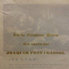 Coleccionismo: TARJETA PRIMERA MISA DEL SACERDOT JOAQUIM FONT I GASSOL. IGUALADA 25 MAIG 1949. Lote 183817856