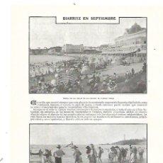 Coleccionismo: AÑO 1905 RECORTE PRENSA BIARRITZ EN SEPTIEMBRE GRAN PLAYA CASINO VIEJO BAÑISTAS . Lote 183848400