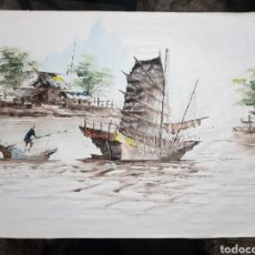 Coleccionismo: TELA AL OLEO CHINA FIRMADA Y NUMERADA 61X44. Lote 183860408