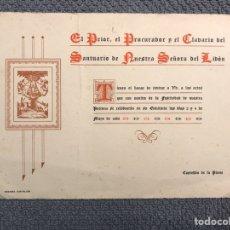 Coleccionismo: CASTELLÓN INVITACION: EL PRIOR, EL PROCURADOR Y EL CLAVARIO DEL SANTUARIO DE NTRA. SRA. DEL LIDON. Lote 183921896