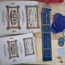 Coleccionismo: DIFERENTES ETIQUETAS SIN USAR DE LA MARCA DE TABACO LA REGENTA. Lote 185718787
