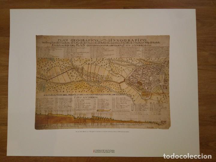 REPRODUCCIÓN PLANO Y CORTE FUENTE CONVENTO SANTA ANA, AGUSTINAS, SAN MATEO (CASTELLÓN), 1773 (Coleccionismo - Laminas, Programas y Otros Documentos)