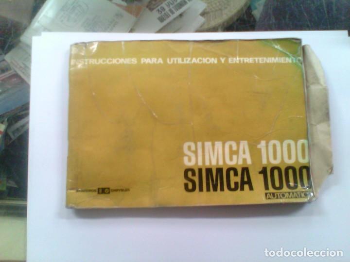 MANUAL DE INSTRUCCIONES PARA UTILIZACION Y ENTRETENIMIENTO SIMCA 1000 AUTOMATICO (Coleccionismo - Varios)