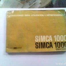 Coleccionismo: MANUAL DE INSTRUCCIONES PARA UTILIZACION Y ENTRETENIMIENTO SIMCA 1000 AUTOMATICO. Lote 186068732