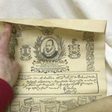 Coleccionismo: PERGAMINO MIGUEL DE CERVANTES POR ANTONIO ABAD 1970 JOSE LUIS ESCUDOS TOLEDO ILLESCAS ESQUIVIAS . Lote 188446946
