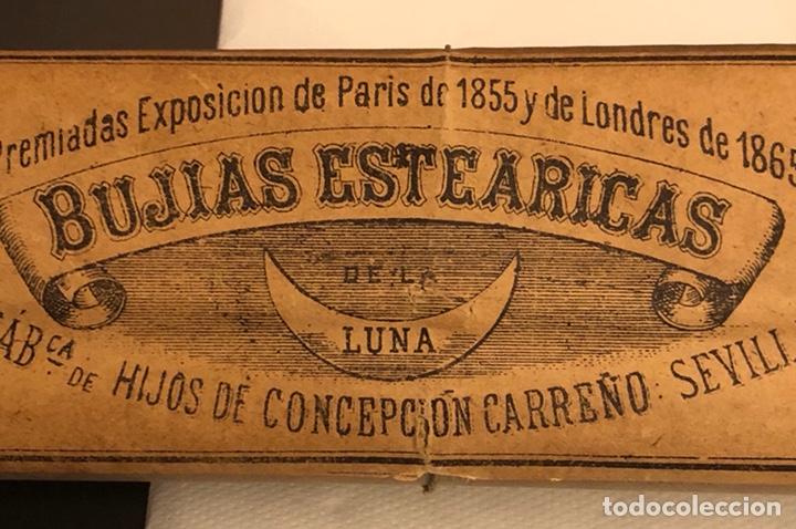 Coleccionismo: Raro paquete con 4 bujías estearicas, siglo XIX - Foto 3 - 188508298