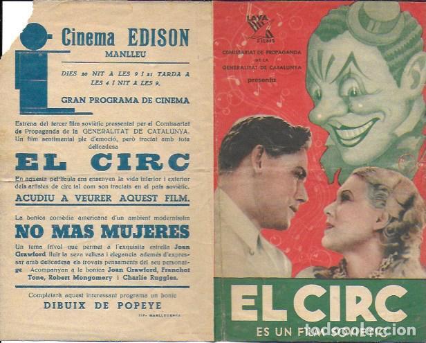PROGRAMA CINEMA EDISON MANLLEU (ANYS 1930). COMISSARIAT PROPAGANDA GENERALITAT DE CATALUNYA. EL CIRC (Coleccionismo - Laminas, Programas y Otros Documentos)