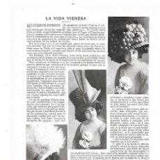 Coleccionismo: AÑO 1909 RECORTE PRENSA MODA MUJER COMPLEMENTOS SOMBREROS VIDA VIENESA MODA VIENA. Lote 189238862