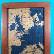 Coleccionismo: PRECIOSO CUADRO MADERA GRABADA CON MAPA EUROPA-AFRICA-ESPAÑA-BENETEAU-PARA COLGAR-22X16X2 CM.-1996.. Lote 189466628