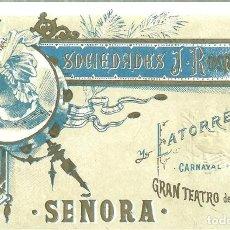Collectionnisme: 993.- GRAN TEATRO DEL LICEO - SOCIEDADES J.ROMEA Y LATORRE CARNAVAL DE 1885 ENTRADA SEÑORA. Lote 189571601