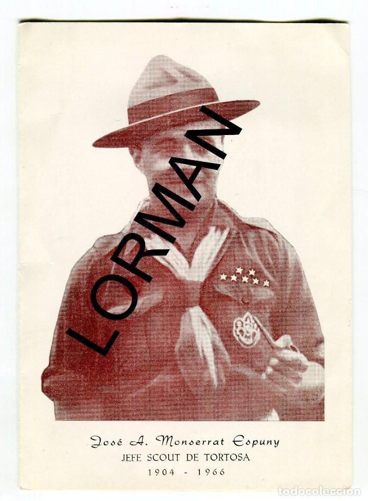 TORTOSA JOSE A. MONSERRAT ESPUNY JEFE SCOUT DE TORTOSA 1904-1966 MISA MIG CAMI FORMATO DIPTICO 1966 (Coleccionismo - Laminas, Programas y Otros Documentos)