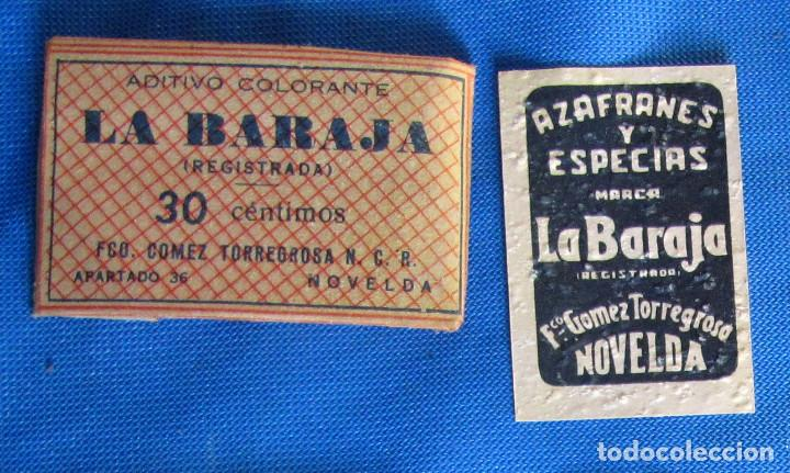 Coleccionismo: ADITIVO COLORANTE LA BARAJA. FCO. GÓMEZ TORREGROSA, ALICANTE. - Foto 2 - 190588212