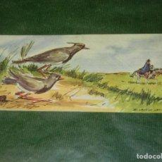 Coleccionismo: HOJA CARTA AEREA ILUSTRADA GAUCHO Y PAJAROS, URUGUAY - HACIA 1965, ESCRITA. Lote 190608260