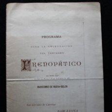 Coleccionismo: PROGRAMA PARA LA CELEBRACIÓN DEL CERTAMEN FRENOPÁTICO. JUAN GINÉS Y PARTAGÁS. BARCELONA. 1883.. Lote 190707685