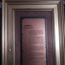 Coleccionismo: UNICO CUADRO PLACA METAL LEYENDA LECTURA SER INGENIERO VINTAGE DECORACIÓN. Lote 190880408