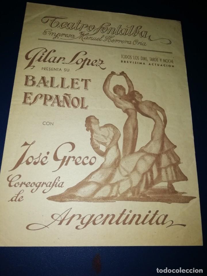 PROGRAMA DIPTICO BALLET PILAR LÓPEZ CON JOSÉ GRECO AÑOS 50 (Coleccionismo - Laminas, Programas y Otros Documentos)