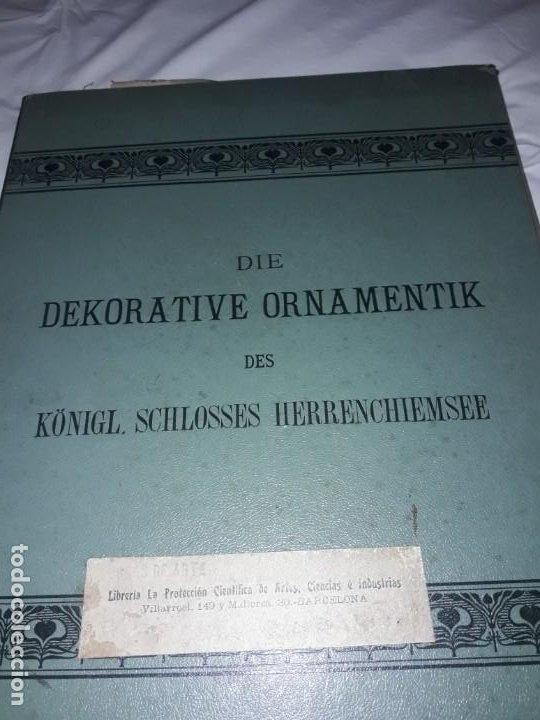 Coleccionismo: Antiguo libro 60 Laminas Die Dekorative Ornamentik Des Königl Schlosses Herrenchiemsee 42x31.5cm - Foto 6 - 191390102