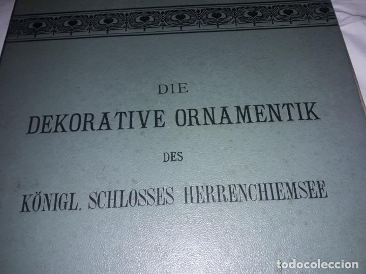 Coleccionismo: Antiguo libro 60 Laminas Die Dekorative Ornamentik Des Königl Schlosses Herrenchiemsee 42x31.5cm - Foto 8 - 191390102