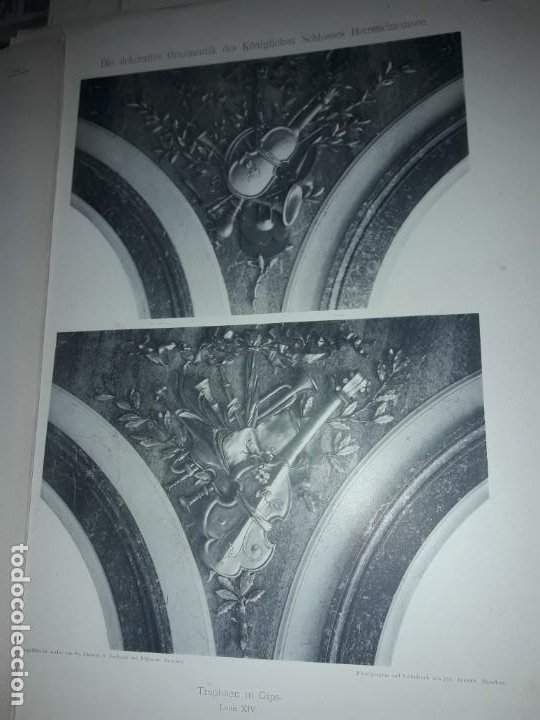 Coleccionismo: Antiguo libro 60 Laminas Die Dekorative Ornamentik Des Königl Schlosses Herrenchiemsee 42x31.5cm - Foto 14 - 191390102