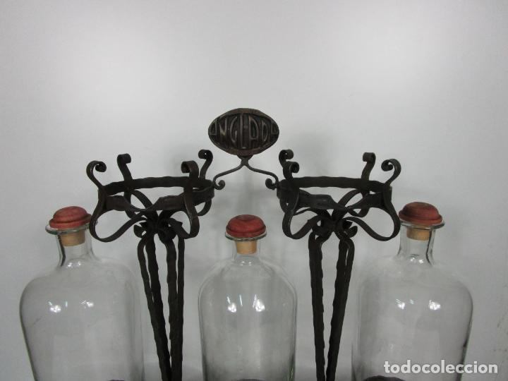 Coleccionismo: Perfumes Anglada, Barcelona - Precioso Soporte Modernista - Botellas Cristal con Grifo - Años 20 - Foto 6 - 191483196