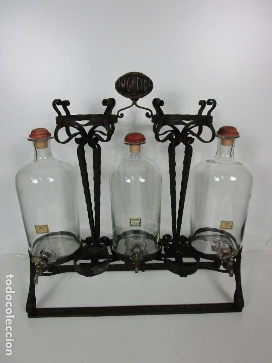 Coleccionismo: Perfumes Anglada, Barcelona - Precioso Soporte Modernista - Botellas Cristal con Grifo - Años 20 - Foto 18 - 191483196
