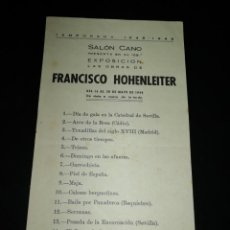 Coleccionismo: HOJA EXPOSICIÓN DEL GRAN PINTOR GADITANO FRANCISCO HOHENLEITER 1948. Lote 191503198