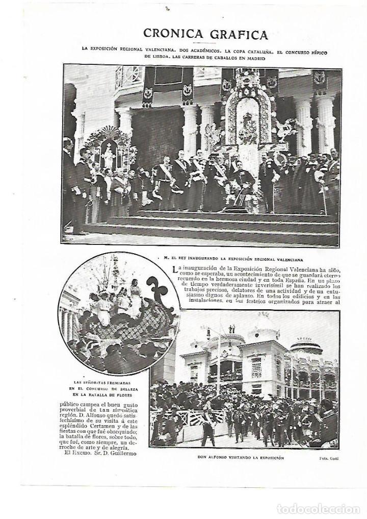 AÑO 1909 RECORTE PRENSA INAUGURACION EXPOSICION VALENCIA CON ASISTENCIA DEL REY ALFONSO XIII (Coleccionismo - Laminas, Programas y Otros Documentos)
