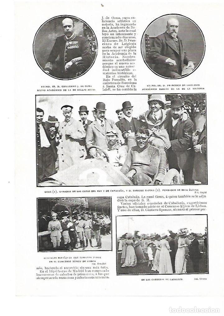 AÑO 1909 RECORTE PRENSA DEPORTES AUTOMOVILISMO COPA DEL REY Y DE CATALUÑA GOUX ENRIQUE RAFOLS (Coleccionismo - Laminas, Programas y Otros Documentos)