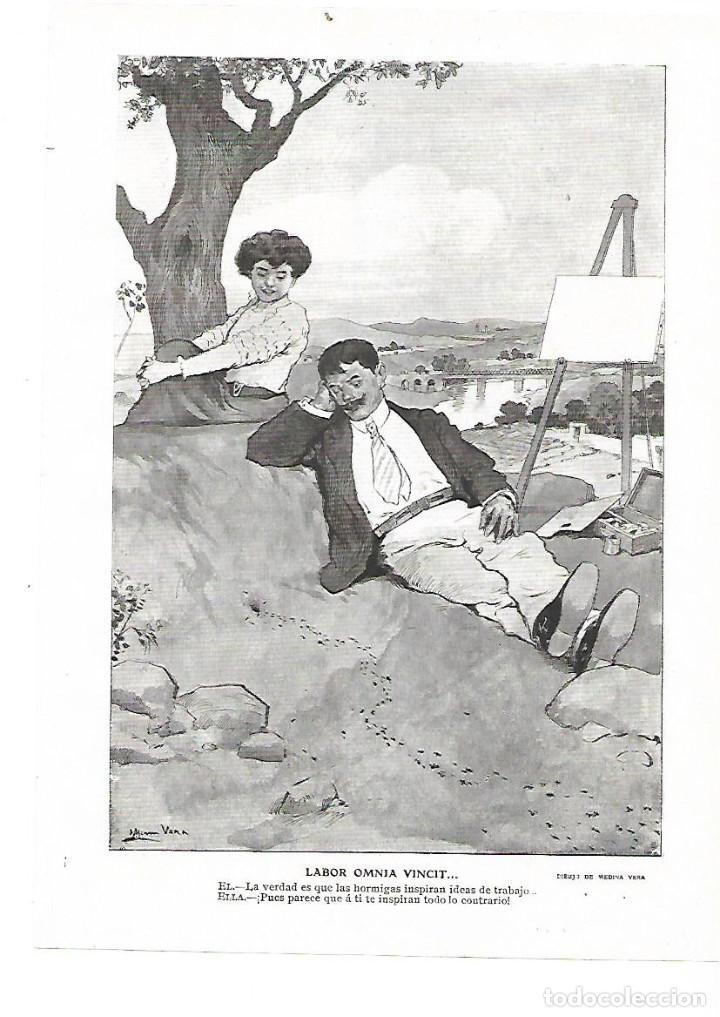 AÑO 1909 RECORTE PRENSA PINTURA DIBUJO LABOR OMNIA VINCIT POR MEDINA VERA (Coleccionismo - Laminas, Programas y Otros Documentos)