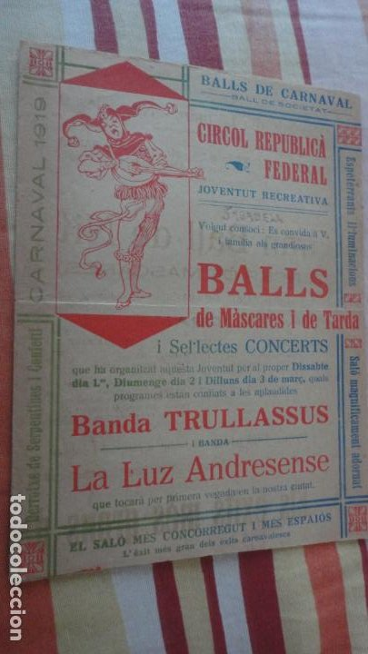 ANTIGUO PROGRAMA.BALLS MASCARES I TARDA.CARNAVAL.BANDA TRULLASSUS.LUZ ADRESENSE.SABADELL 1919 (Coleccionismo - Laminas, Programas y Otros Documentos)