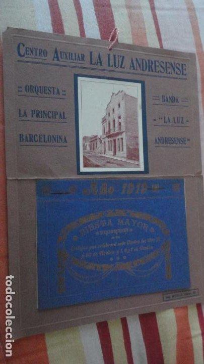 PROGRAMA.CENTRO LUZ ANDRESENSE.FIESTA MAYOR.ORQUESTA PRINCIPAL BARCELONINA.1919 SAN ANDRES PALOMAR? (Coleccionismo - Laminas, Programas y Otros Documentos)