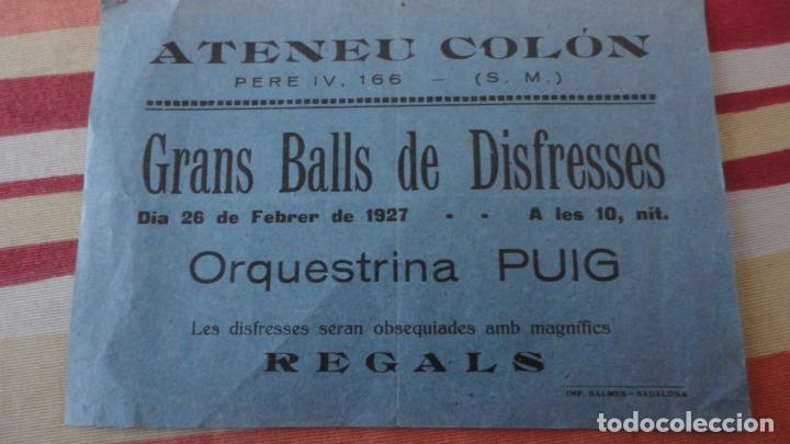 ANTIGUO PASQUIN.ATENEO COLON.GRAN BALLS DISFRESSES-ORQUESTRINA PUIG.1927 (Coleccionismo - Laminas, Programas y Otros Documentos)