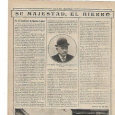 Coleccionismo: AÑO 1913 RECORTE PRENSA HIERRO FUNDICION DE MATIAS LOPEZ HUELVA. Lote 193187092