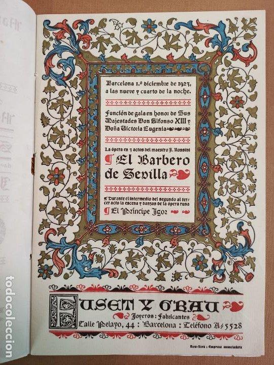 Coleccionismo: Libreto DE LITOGRAFIA EXCELENTE, ÓPERA - EL BARBERO DE SEVILLA - de ROSSINI, 1923 - Foto 3 - 193230588