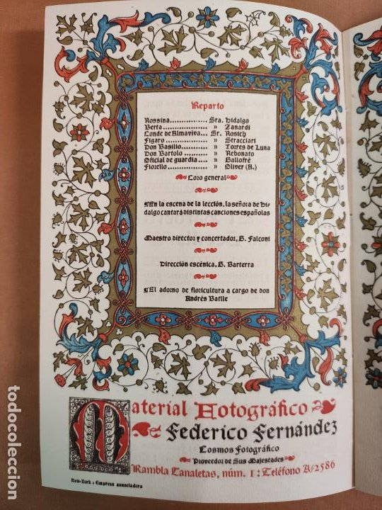 Coleccionismo: Libreto DE LITOGRAFIA EXCELENTE, ÓPERA - EL BARBERO DE SEVILLA - de ROSSINI, 1923 - Foto 4 - 193230588