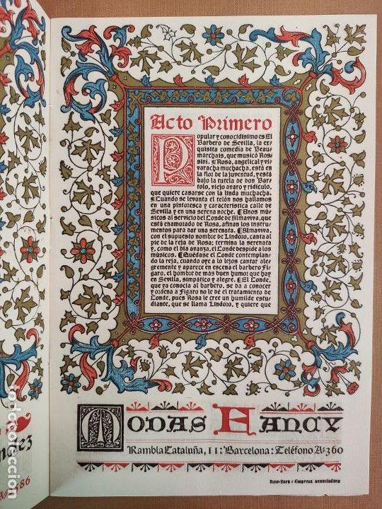 Coleccionismo: Libreto DE LITOGRAFIA EXCELENTE, ÓPERA - EL BARBERO DE SEVILLA - de ROSSINI, 1923 - Foto 5 - 193230588