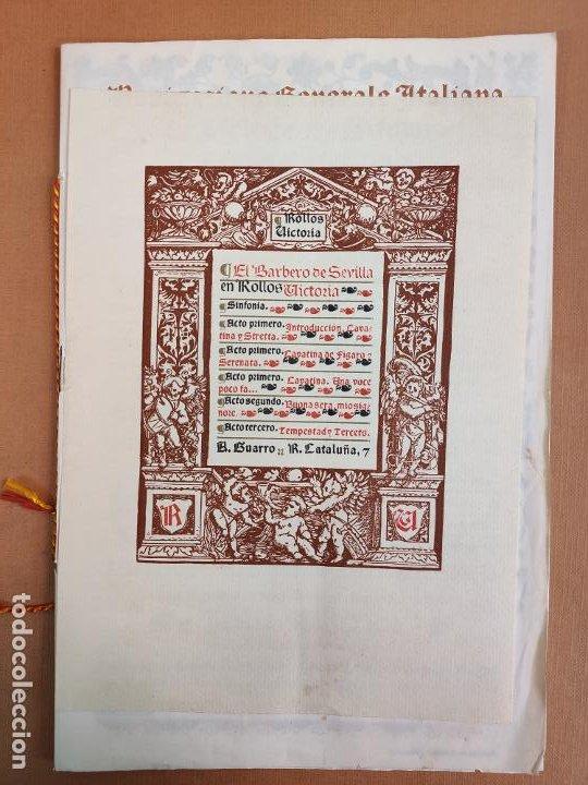 LIBRETO DE LITOGRAFIA EXCELENTE, ÓPERA - EL BARBERO DE SEVILLA - DE ROSSINI, 1923 (Coleccionismo - Laminas, Programas y Otros Documentos)