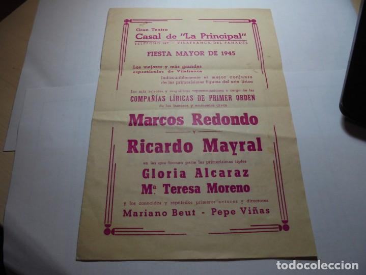 MAGNIFICO PROGRAMA DE VILAFRANCA DEL PANEDES GRAN TEATRO CASAL DE LA PRINCIPAL FIESTA MAYOR 1945 (Coleccionismo - Laminas, Programas y Otros Documentos)