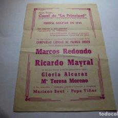 Coleccionismo: MAGNIFICO PROGRAMA DE VILAFRANCA DEL PANEDES GRAN TEATRO CASAL DE LA PRINCIPAL FIESTA MAYOR 1945. Lote 193777977