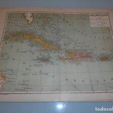 Coleccionismo: LÁMINA SALVAT ,- DOBLE LÁMINA MAPA LAS ANTILLAS. Lote 194137891