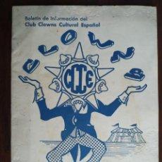 Coleccionismo: BOLETÍN DE INFORMACIÓN Nº 24 DEL CLUB CLOWNS CULTURAL ESPAÑOL. BARCELONA 1972. Lote 194139082