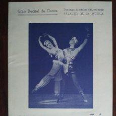 Coleccionismo: GRAN RECITAL DE DANZA EN EL PALACIO DE LA MÚSICA CON JUAN MAGRIÑA Y MARUJA BLANCO BARCELONA 1945. Lote 194141762