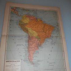 Coleccionismo: LÁMINA SAVAT .-CUATRO DOBLES LÁMINAS AMÉRICA DEL NORTE -AMÉRICA DEL SUR - PARTE CENTRAL- ARG. Y C. Lote 194143450